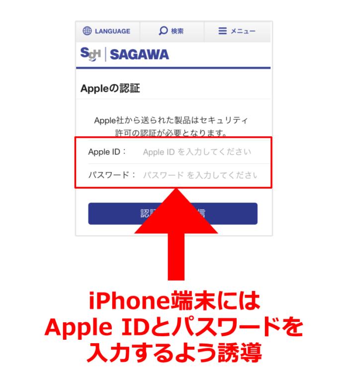 iPhone端末には Apple IDとパスワードを 入力するよう誘導