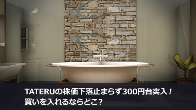 TATERUの株価下落止まらず300円台突入!買いを入れるならどこ?